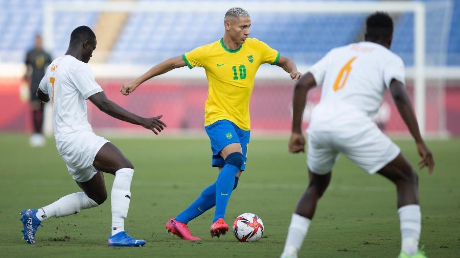 Richarlison é o artilheiro da seleção brasileira olímpica em Tóquio, com três gols marcados - Lucas Figueiredo/CBF