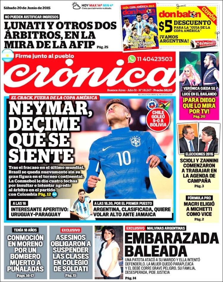 Jornal argentino Crónica do dia 20.06.2015 faz piada com a suspensão de Neymar na Copa América