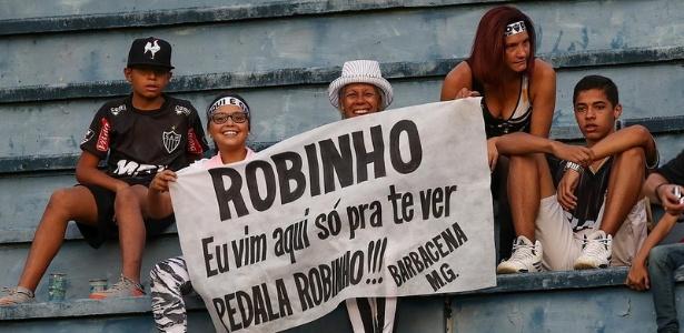 Torcedores do Atlético-MG levaram faixa para Robinho e certamente gostaram do que viram - Bruno Cantini/Clube Atlético Mineiro