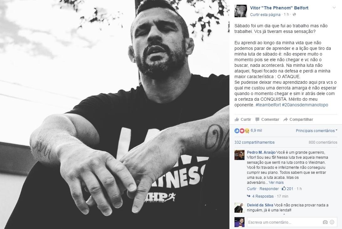 Vitor Belfort postou mensagem de desabafo em rede social