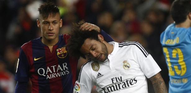 Neymar e Marcelo; atacante poderia ser companheiro de lateral no Real
