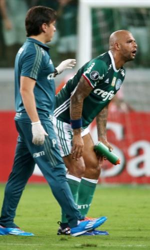 Felipe Melo recebe atendimento médico durante jogo do Palmeiras contra o Jorge Wilstermann