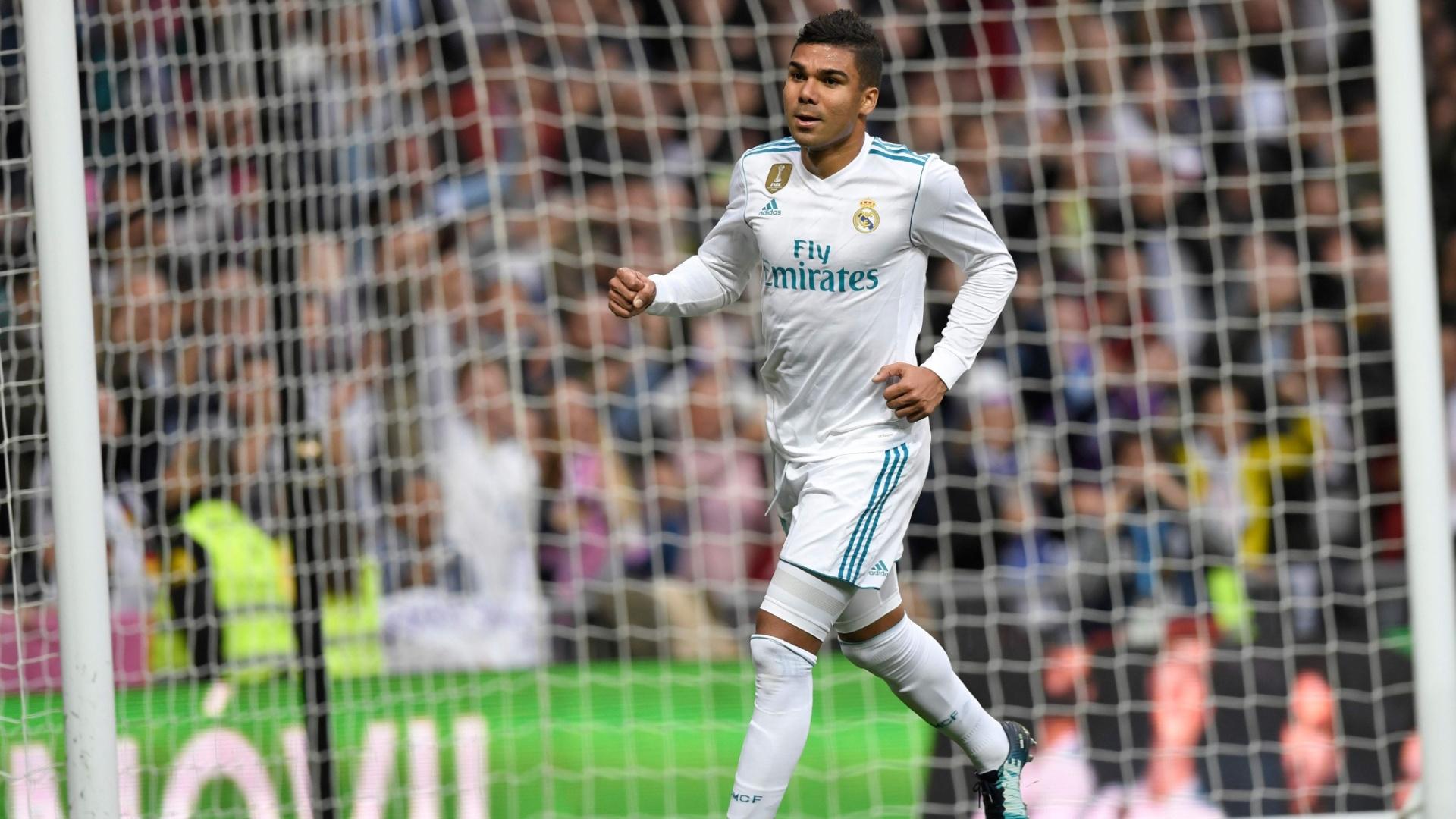 Casemiro comemora o segundo gol do Real Madrid sobre o Málaga