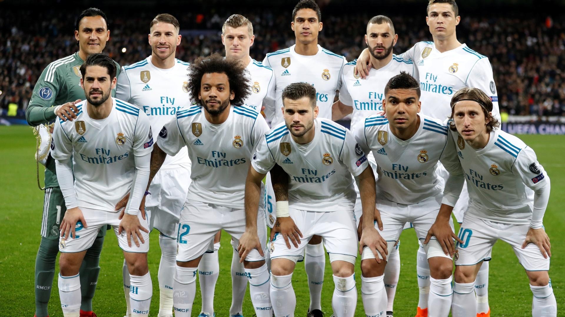Real Madrid começou com Keylor Navas; Sergio Ramos, Varane, Nacho e Marcelo; Casemiro, Kroos e Modric; Isco, Benzema e Cristiano Ronaldo.