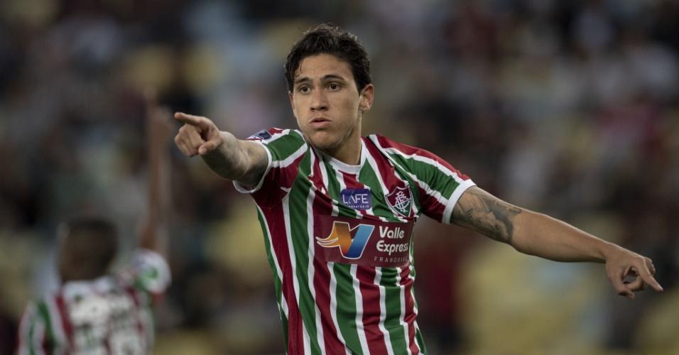 O atacante Pedro gesticula na vitória do Fluminense sobre o Defensor