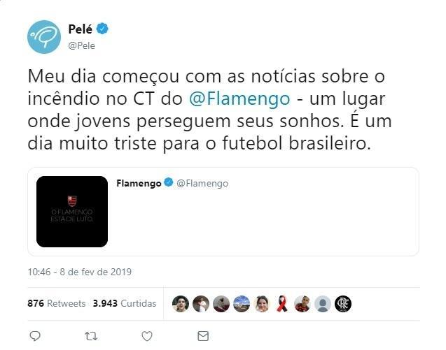 Pelé lamenta incêndio no Flamengo