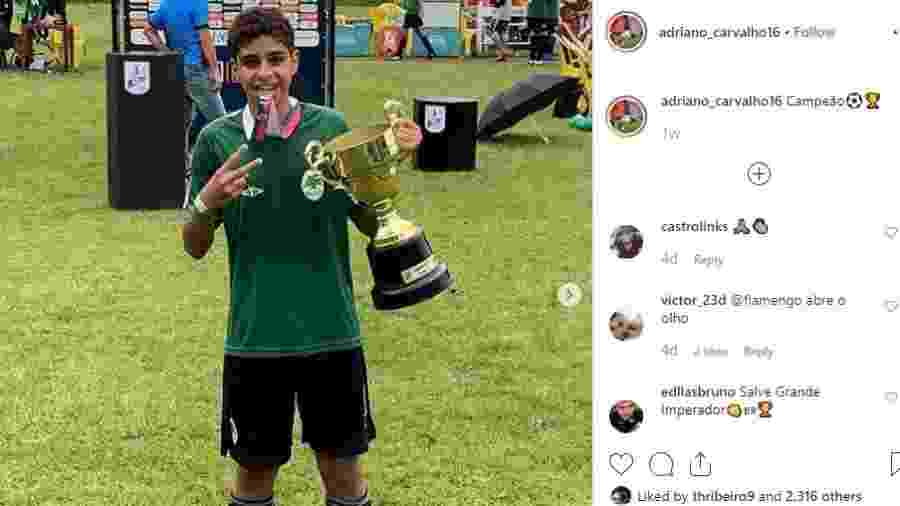 Adriano Carvalho, filho do atacante Adriano Imperador  - Reprodução