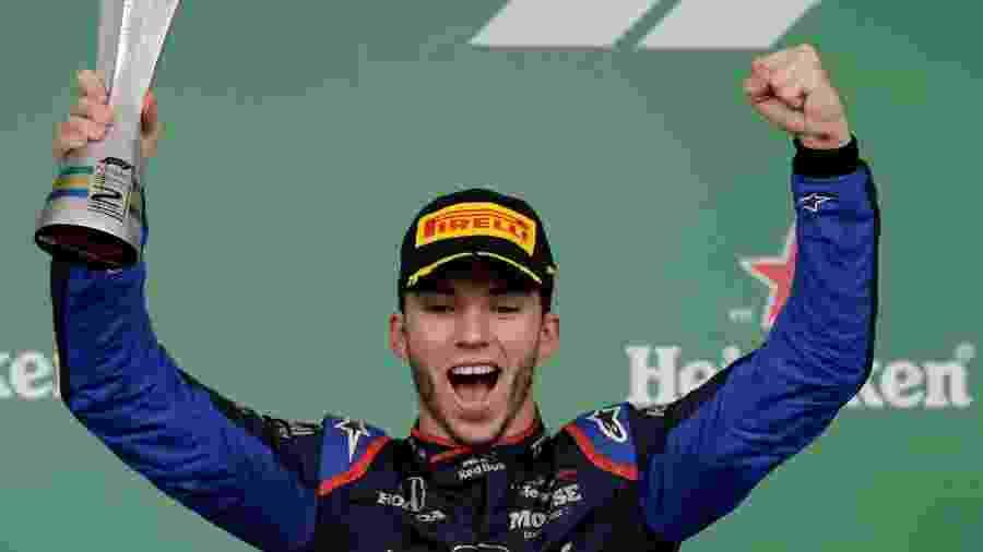 Pierre Gasly (Toro Rosso) comemora o segundo lugar no Grande Prêmio do Brasil de 2019 - Amanda Perobelli/Reuters