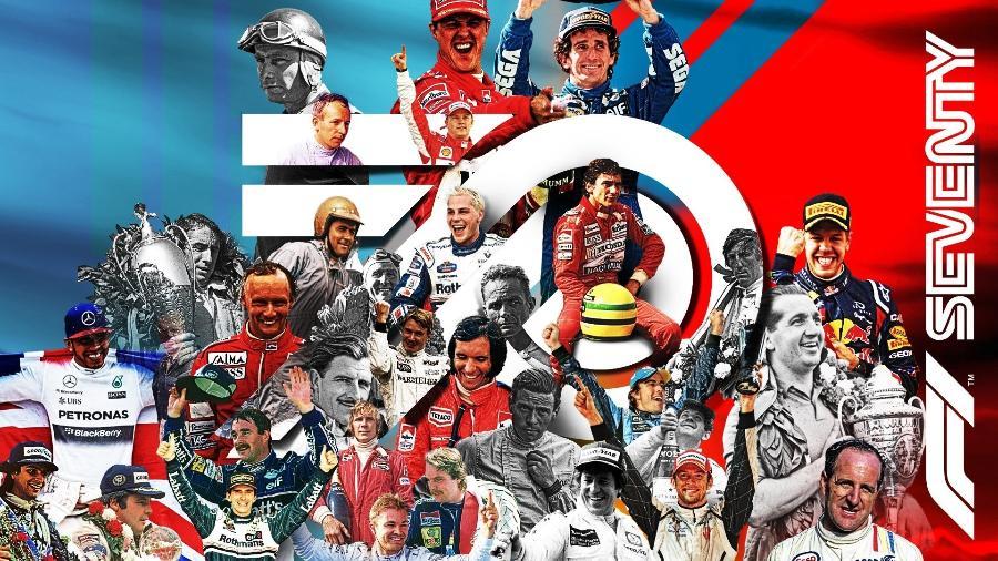 Montagem com fotos dos campeões do mundo em comemoração aos 70 anos da F1 - F1