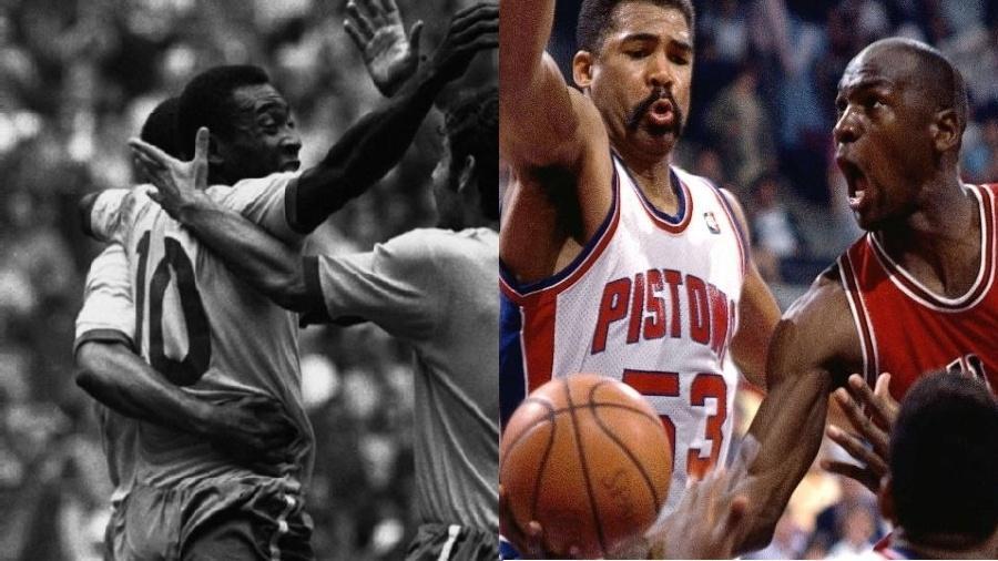 Montagem Pelé e Michael Jordan