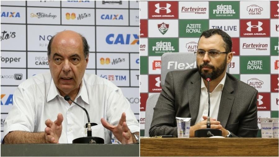 Nelson Mufarrej, presidente do Botafogo, e Mario Bittencourt, presidente do Fluminense - Fotos de Vitor Silva/SSPress/Botafogo e  Lucas Merçon/ Fluminense FC