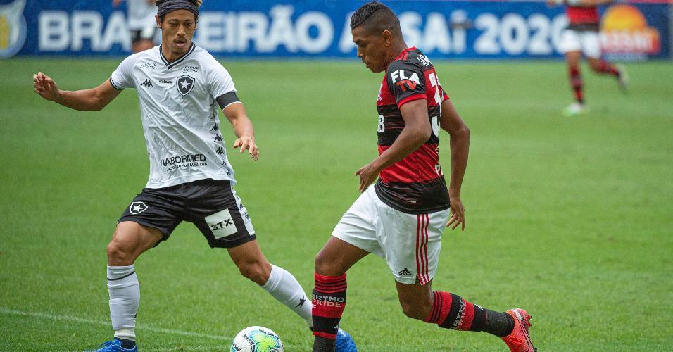 Honda e Pedro Rocha no clássico entre Flamengo x Botafogo pela 5ª rodada do Brasileirão 2020