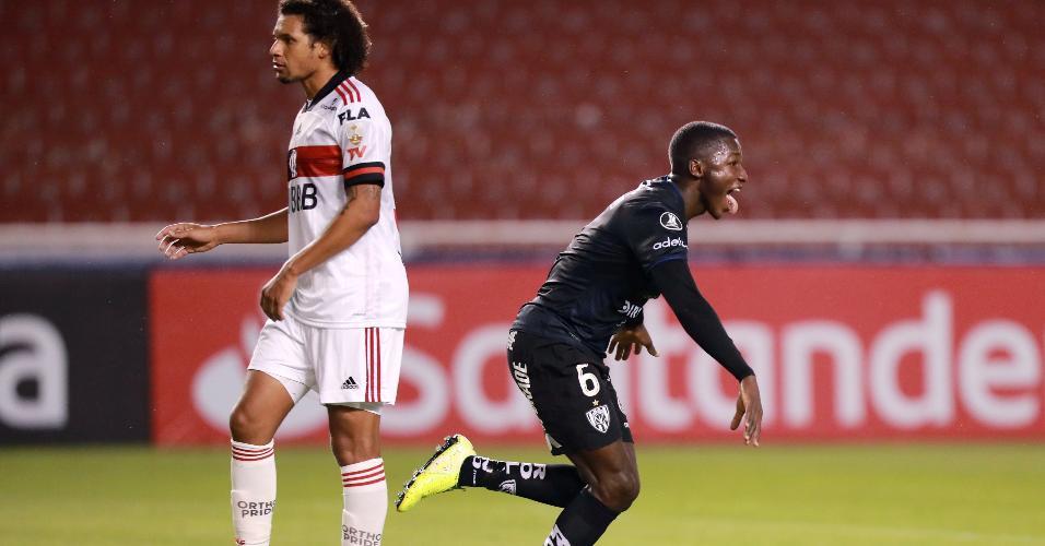 Moises Caicedo comemora o primeiro gol do Independiente Del Valle marcado contra o Flamengo