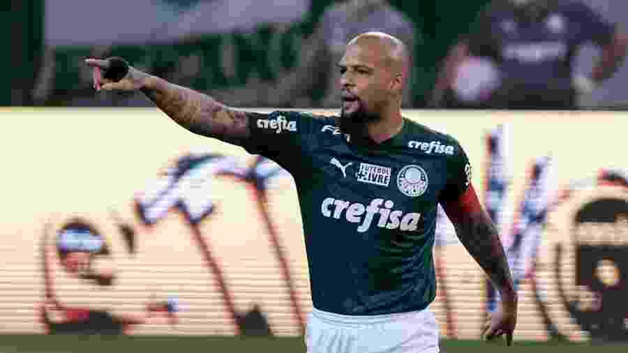 Felipe Melo, capitão do Palmeiras, durante a partida contra o São Paulo, pelo Brasileirão - Marcello Zambrana/AGIF