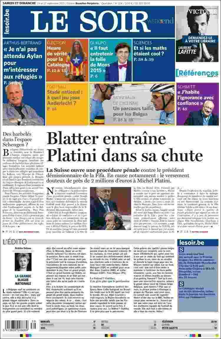 """Le Soir (Bélgica): """"Blatter leva Platini em sua queda"""" - Reprodução"""