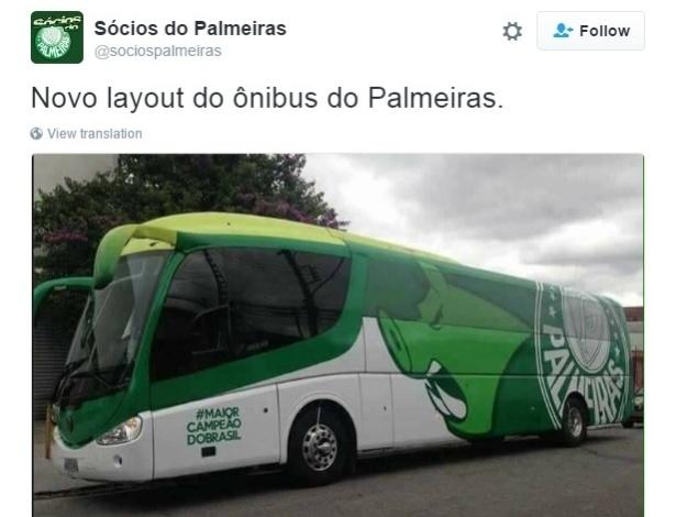 Palmeiras estreia nova pintura de ônibus antes de enfrentar Botafogo