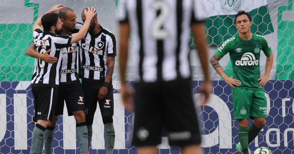 Jogadores do Botafogo comemoram gol de Roger contra a Chapecoense