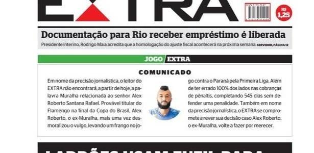 """Capa do jornal """"Extra"""" com editorial sobre Alex Muralha, do Flamengo"""