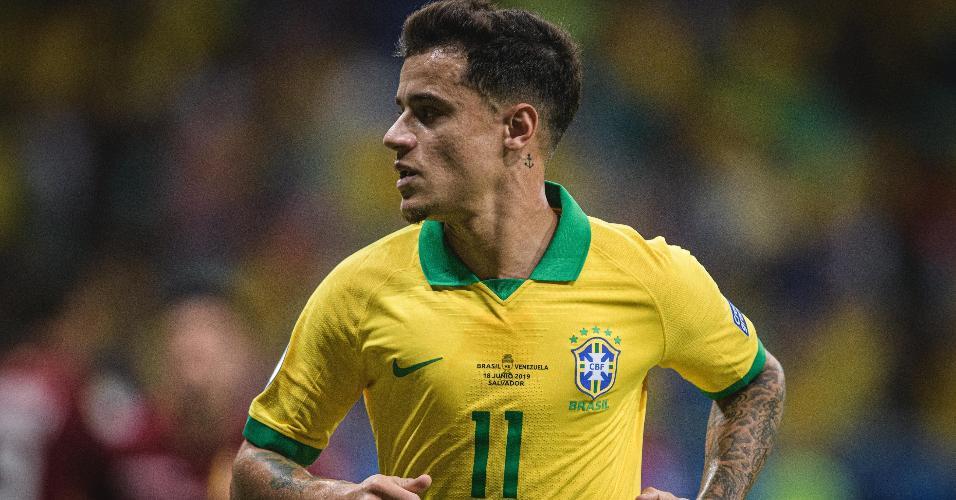 Coutinho, durante partida entre Brasil e Venezuela