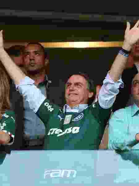 Leila Pereira, Jair Bolsonaro e Maurício Galiotte no Allianz Parque durante o jogo entre Palmeiras e vasco -  REUTERS/Amanda Perobelli