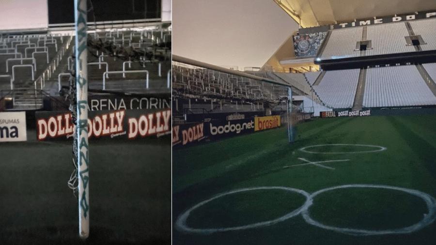 22.jul.2020 - Imagens mostram a Arena Corinthians vandalizada. Estádio é palco do clássico Corinthians x Palmeiras hoje - Reprodução