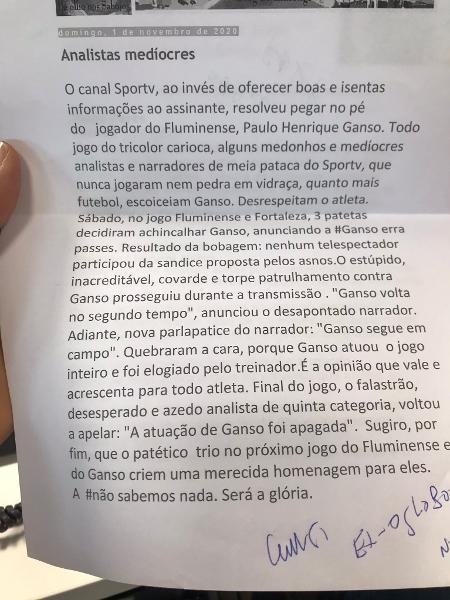 Rizek recebe carta de fã de Ganso criticando o SporTV - Reprodução/Twitter