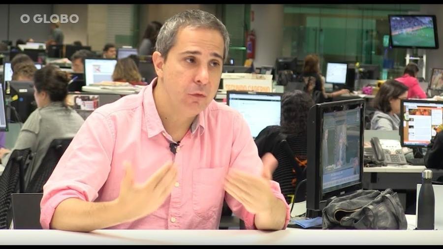 Carlos Eduardo Mansur na redação de O Globo: novo comentarista do Esporte da Globo - Reprodução/YouTube
