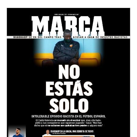 Capa do jornal Marca após caso de racismo envolvendo Mouctar Diakhaby, do Valencia - Reprodução