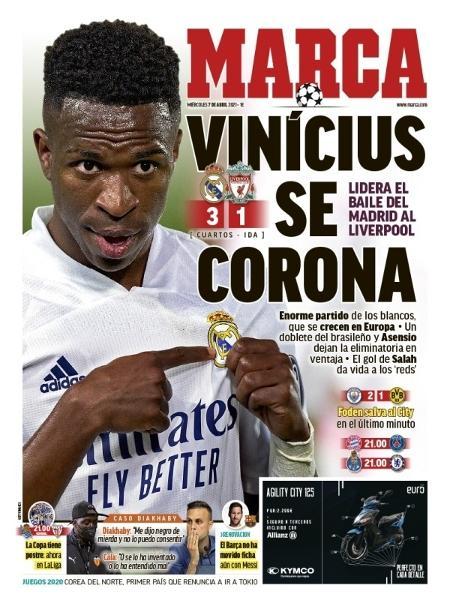 Capa do jornal espanhol Marca exalta Vinicius Junior após atuação na Liga dos Campeões - Reprodução