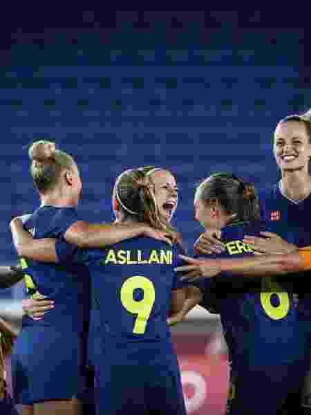 Seleção da Suécia comemora classificação para a final do futebol feminino nos Jogos Olímpicos de Tóquio - Ayman Aref/NurPhoto via Getty Images - Ayman Aref/NurPhoto via Getty Images