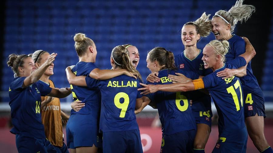 Seleção da Suécia comemora classificação para a final do futebol feminino nos Jogos Olímpicos de Tóquio - Ayman Aref/NurPhoto via Getty Images