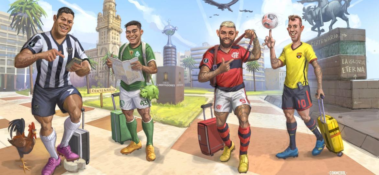 Hulk, Dudu, Gabigol e Damián Diáz foram os representantes dos times semifinalistas da Libertadores - Reprodução/Twitter
