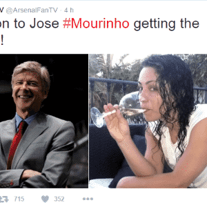 No Twitter, conta de fãs do Arsenal, rival local do Chelsea, também tirou uma casquinha: na foto, além de Wenger, a ex-médica do clube Eva Carneiro, que também teve atrito com Mourinho em 2015 - Reprodução / Twitter