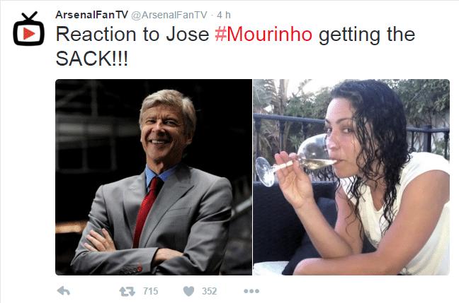 No Twitter, conta de fãs do Arsenal, rival local do Chelsea, também tirou uma casquinha: na foto, além de Wenger, a ex-médica do clube Eva Carneiro, que também teve atrito com Mourinho em 2015