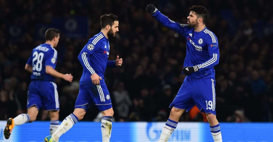Diego Costa comemora gol de empate do Chelsea contra o PSG