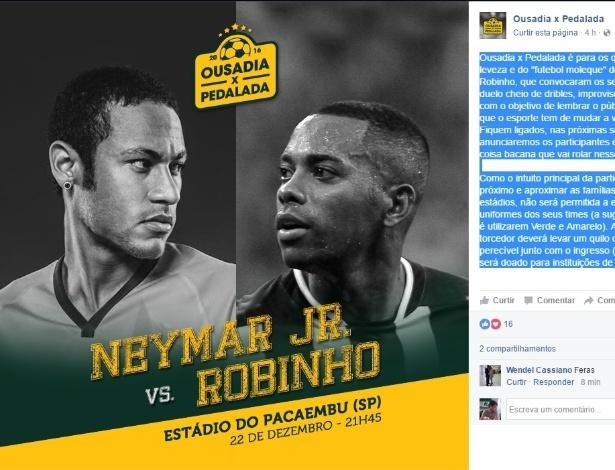Anuncio do amistoso ente Robinho e Neymar no final do ano