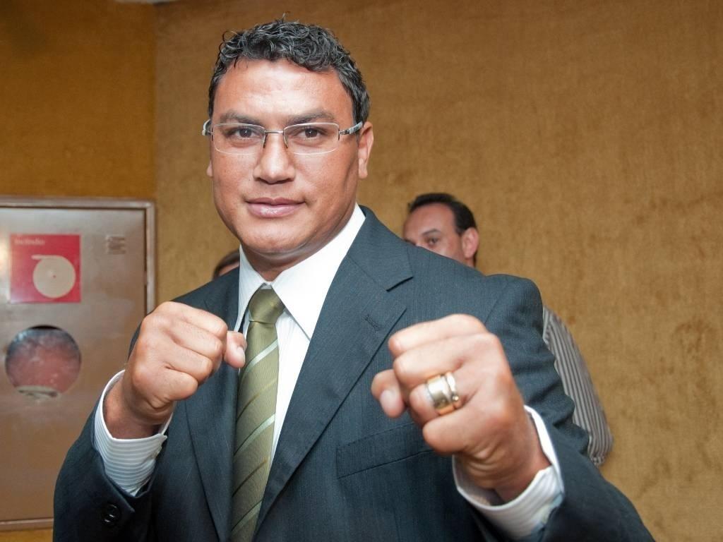 O ex-boxeador e atual deputado federal Acelino Freitas, o Popó, chega para participar da reunião sobre como funciona o Congresso Nacional, em Brasília