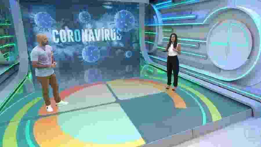 Lucas Gutierrez e Carol Barcellos no Esporte Espetacular - Reprodução/Rede Globo