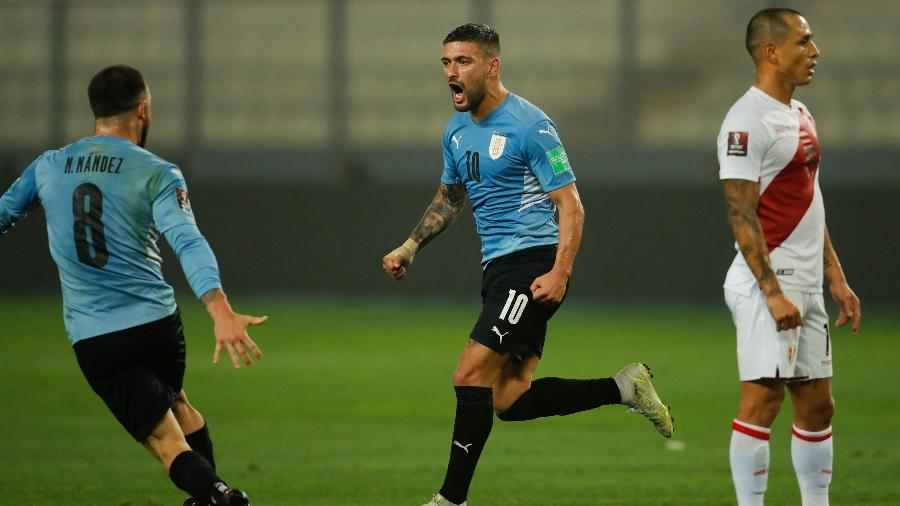 Arrascaeta comemora gol do Uruguai no empate contra o Peru, pelas Eliminatórias da Copa de 2022 - AFP