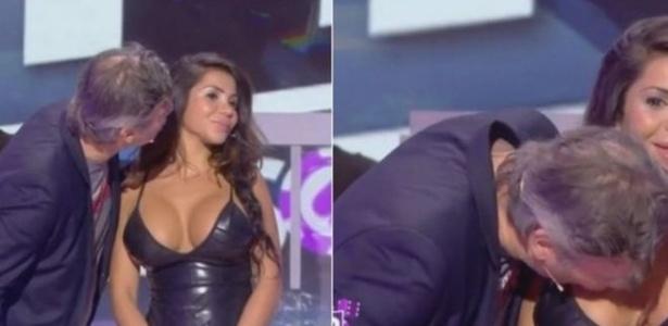 Jornalista beijou seio da atriz após ela virar o rosto ao receber beijo - Reprodução/YouTube