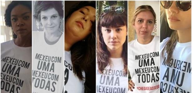As globais Cris Vianna, Drica Moraes, Mariana Xavier, Alice Wegmann, Astrid Fontenelle (apresentadora) e Sophie Charlotte divulgaram imagens suas com camiseta de campanha - Reprodução/Instagram