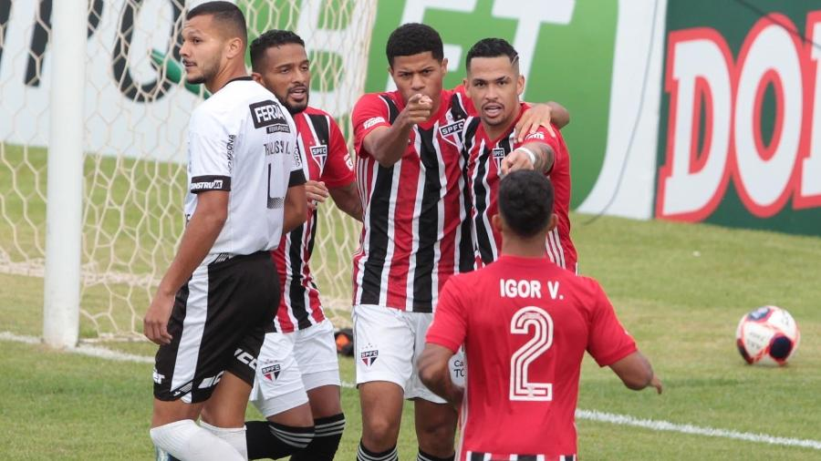 Gabriel Sara, do São Paulo, comemora gol contra a Inter de Limeira - Divulgação/São Paulo