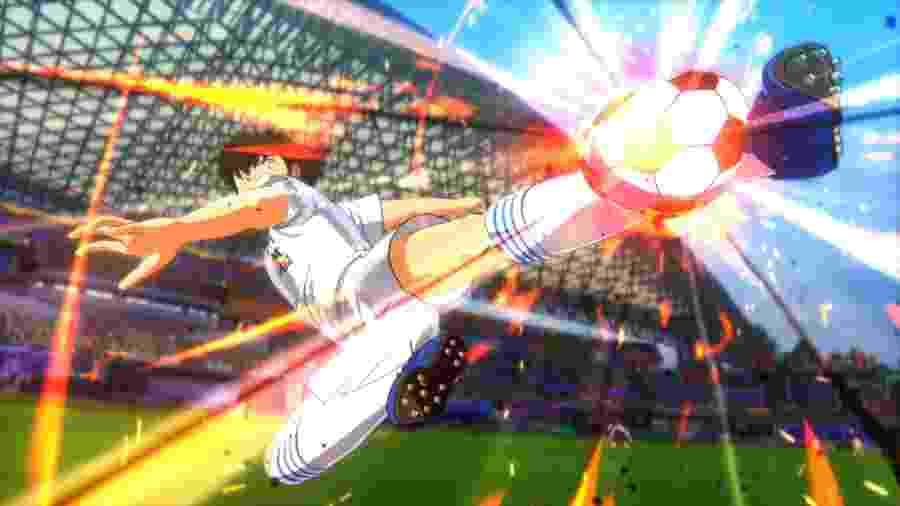 Voadora, dragões, bola pegando fogo: é só uma partida normal de Captain Tsubasa - Divulgação/Bandai Namco