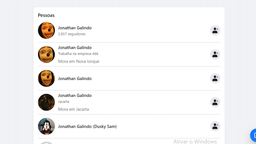 """Lista de perfis no Facebook de """"Jonathan Galindo"""", também conhecido como Homem-Pateta - Reprodução"""