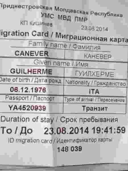 Papel de imigração na Transnístria - Arquivo pessoal - Arquivo pessoal