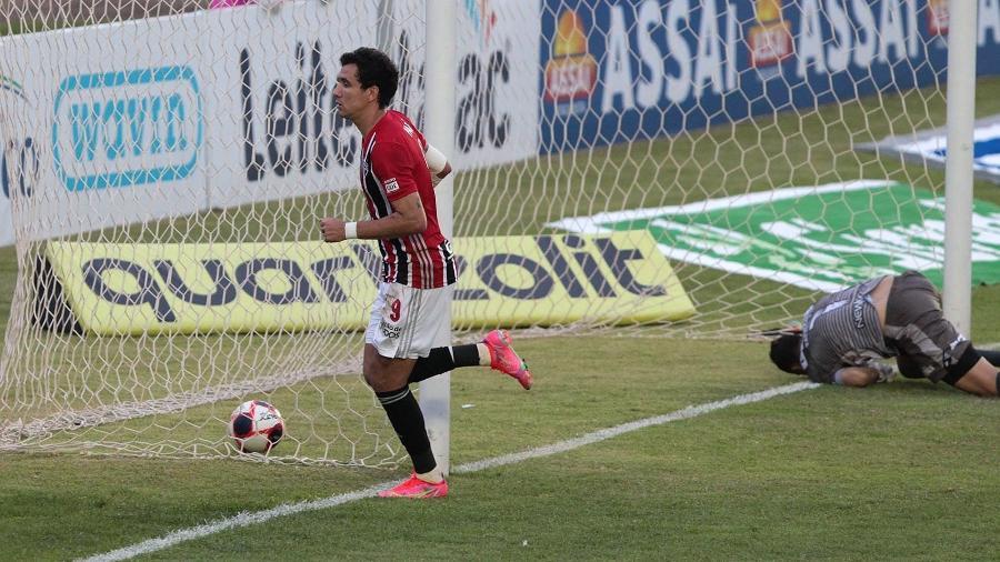 Pablo comemora gol pelo São Paulo, contra a Inter de Limeira, no Paulistão 2021 - Divulgação/São Paulo