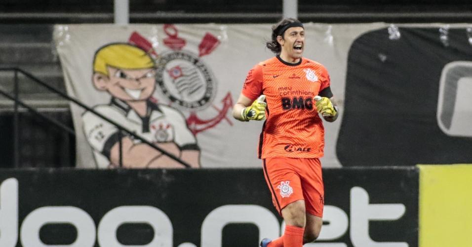 Cassio, durante a partida entre Corinthians e Palmeiras