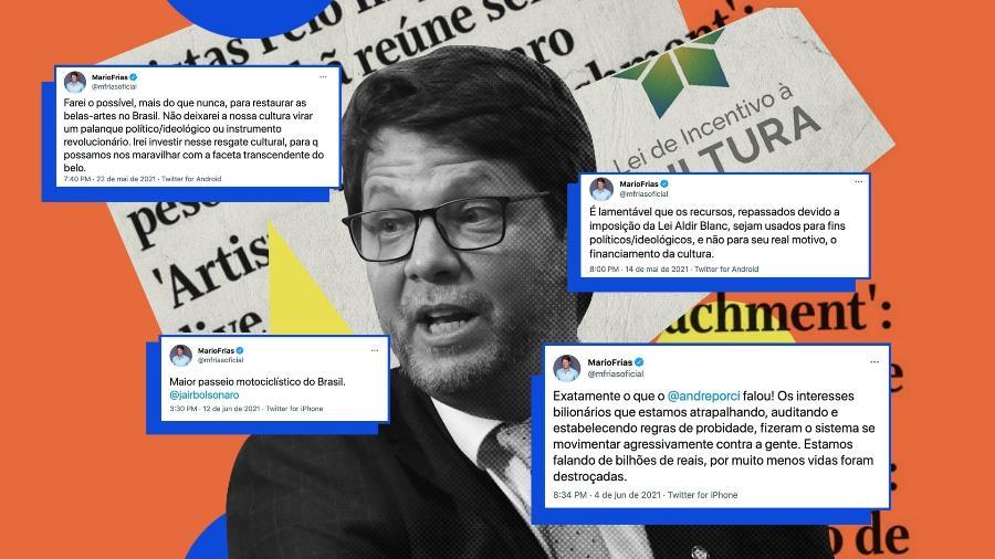 """Mario Frias sobre Lei Rouanet: """"Governo federal não tem obrigação de bancar marmanjo"""" - Arte UOL"""