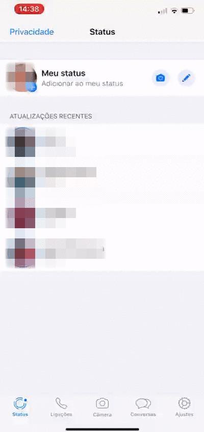 Toque na sua foto para adicionar um novo status