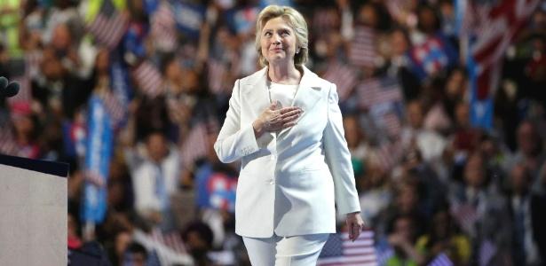 Hillary Clinton aceitou sua indicação para concorrer à presidência dos Estados Unidos